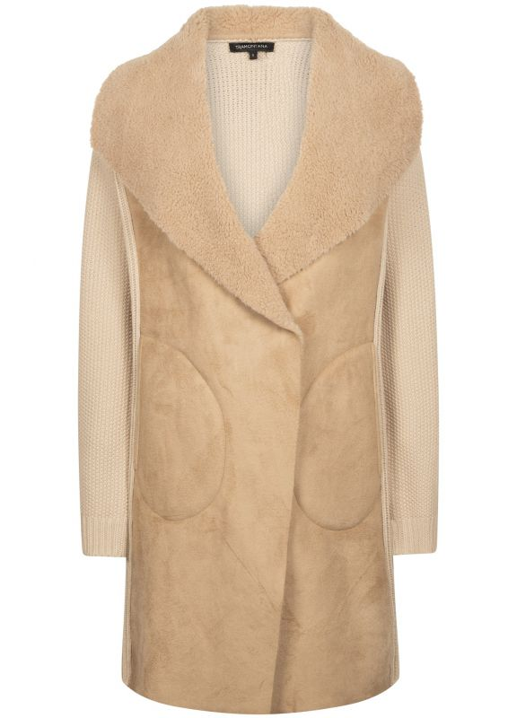 Tramontana Coatigan Fake Fur Knit Camel