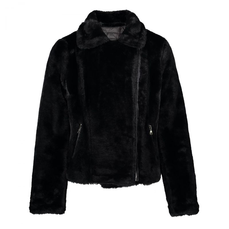Geisha Jacket Reversible With Fur Collar Zwart