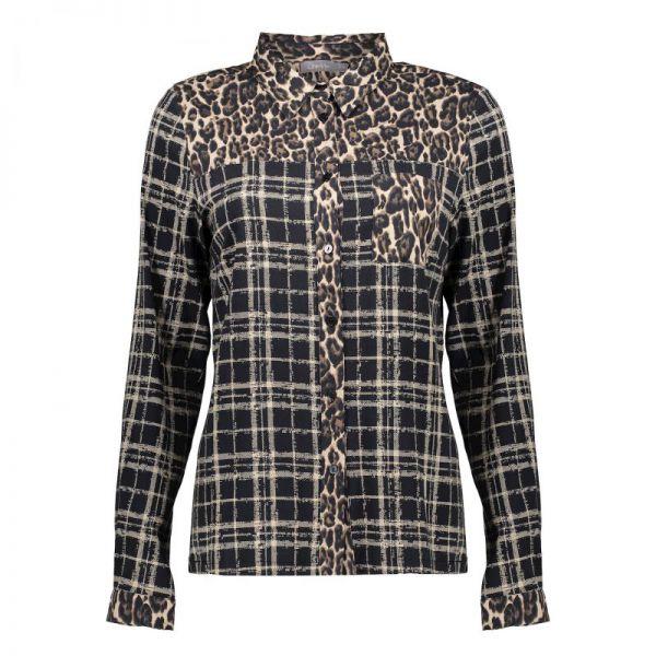 Geisha Blouse Leopard & Checkprint
