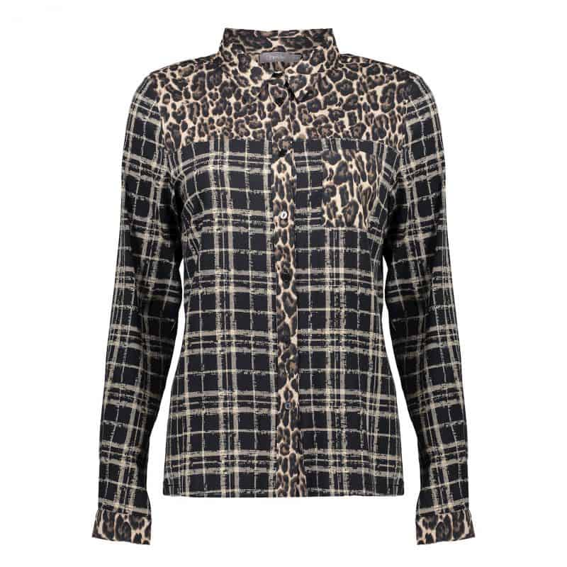 Geisha Blouse Leopard & Checkprint