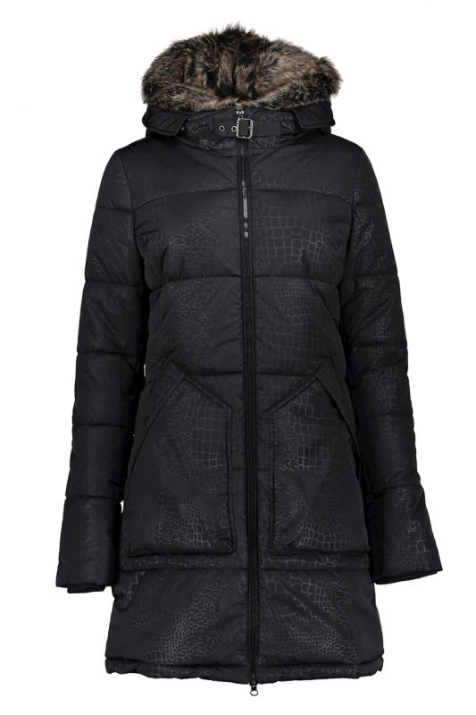Geisha Long Coat Embossed Zwart