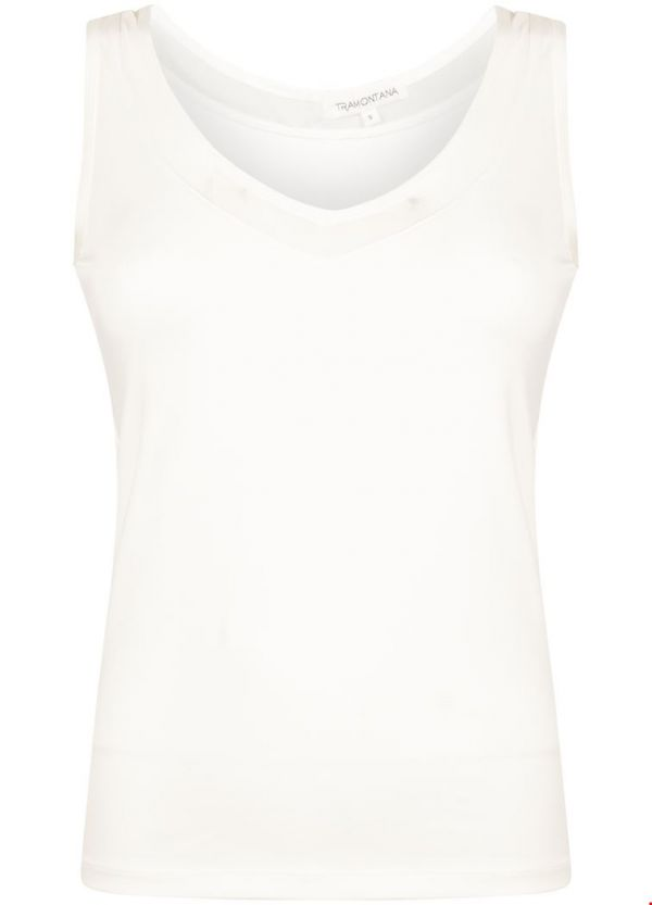 Tramontana Basic V-Neck Singlet Mesh Off White