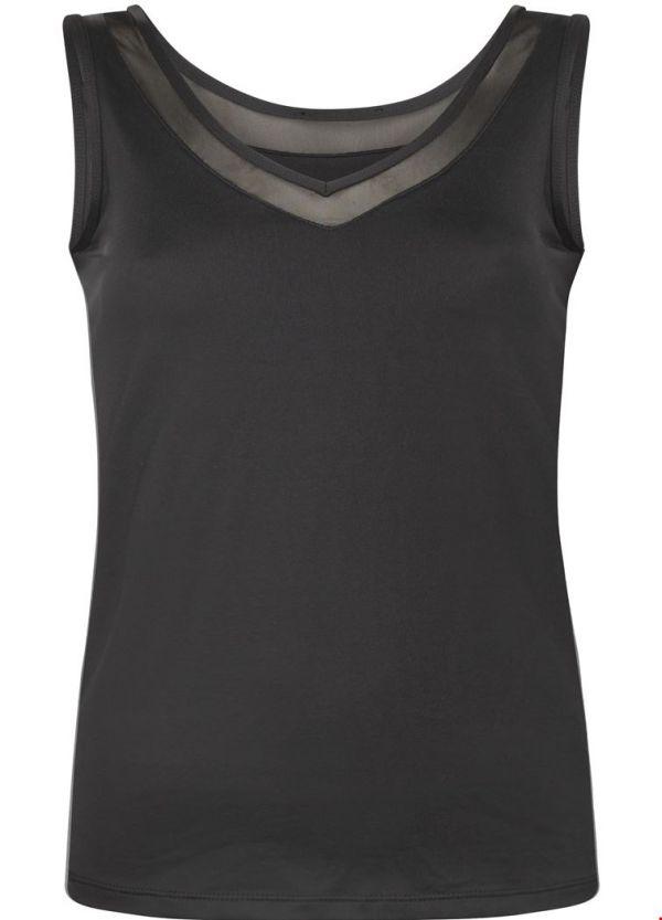 Tramontana Basic V-Neck Singlet Mesh Black