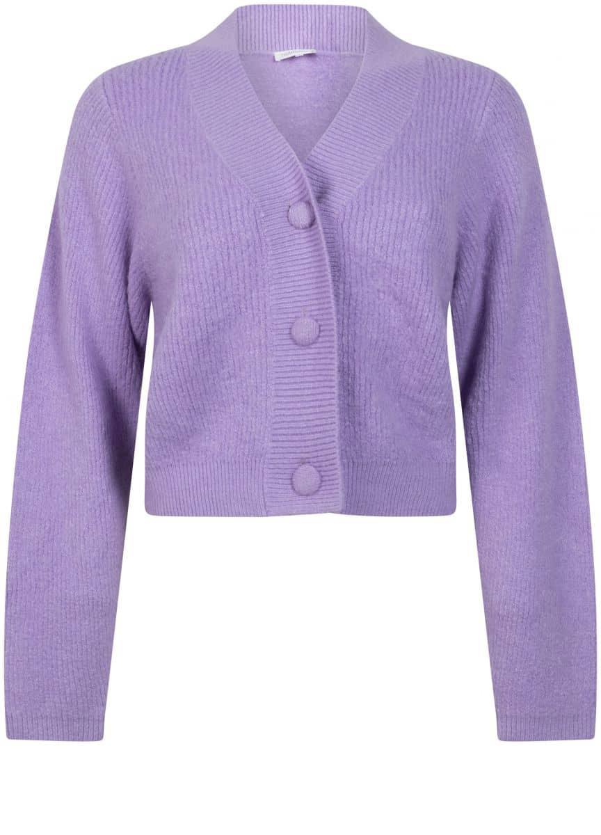 Tramontana Cardigan Short Bulky Knit Lilac