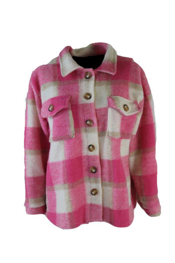 Roze Geblokte Jas