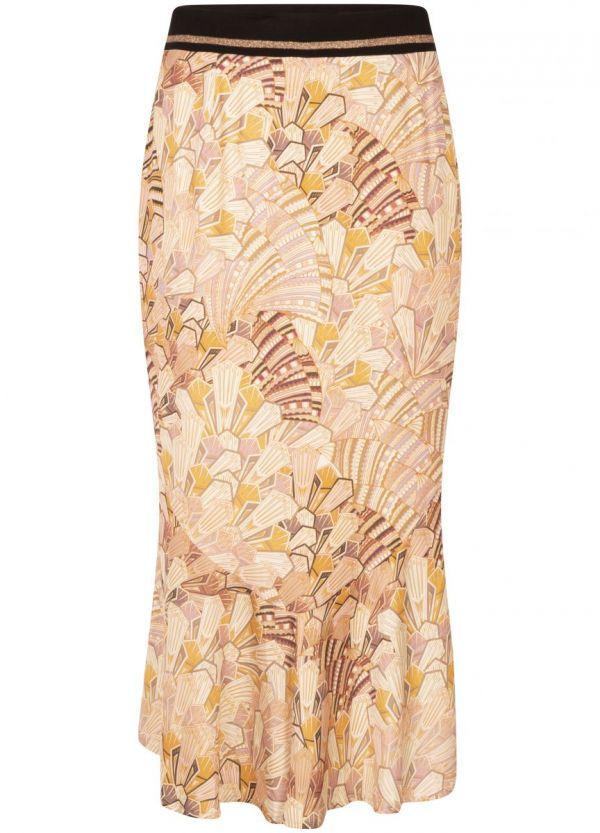 Tramontana Skirt Midi Art Deco Print