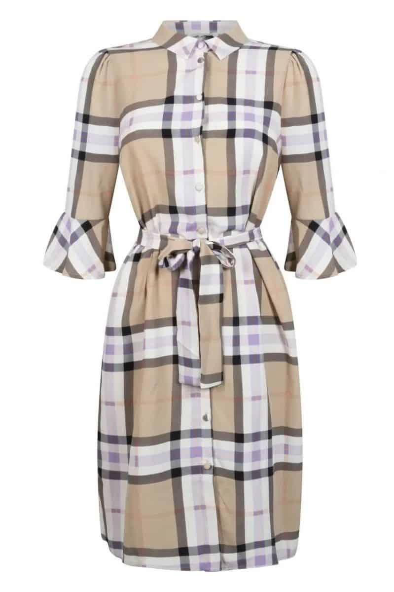 Tramontana Dress Long Blouse Check Print