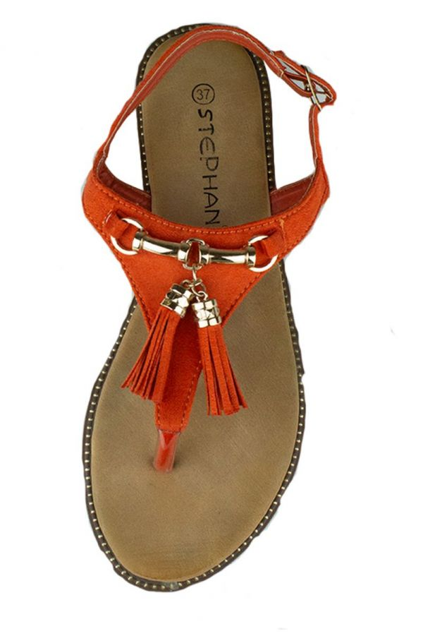 Sandaal Oranje Kwastjes
