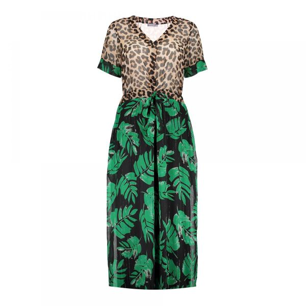 Geisha Dress Combi Leopard & Leaves