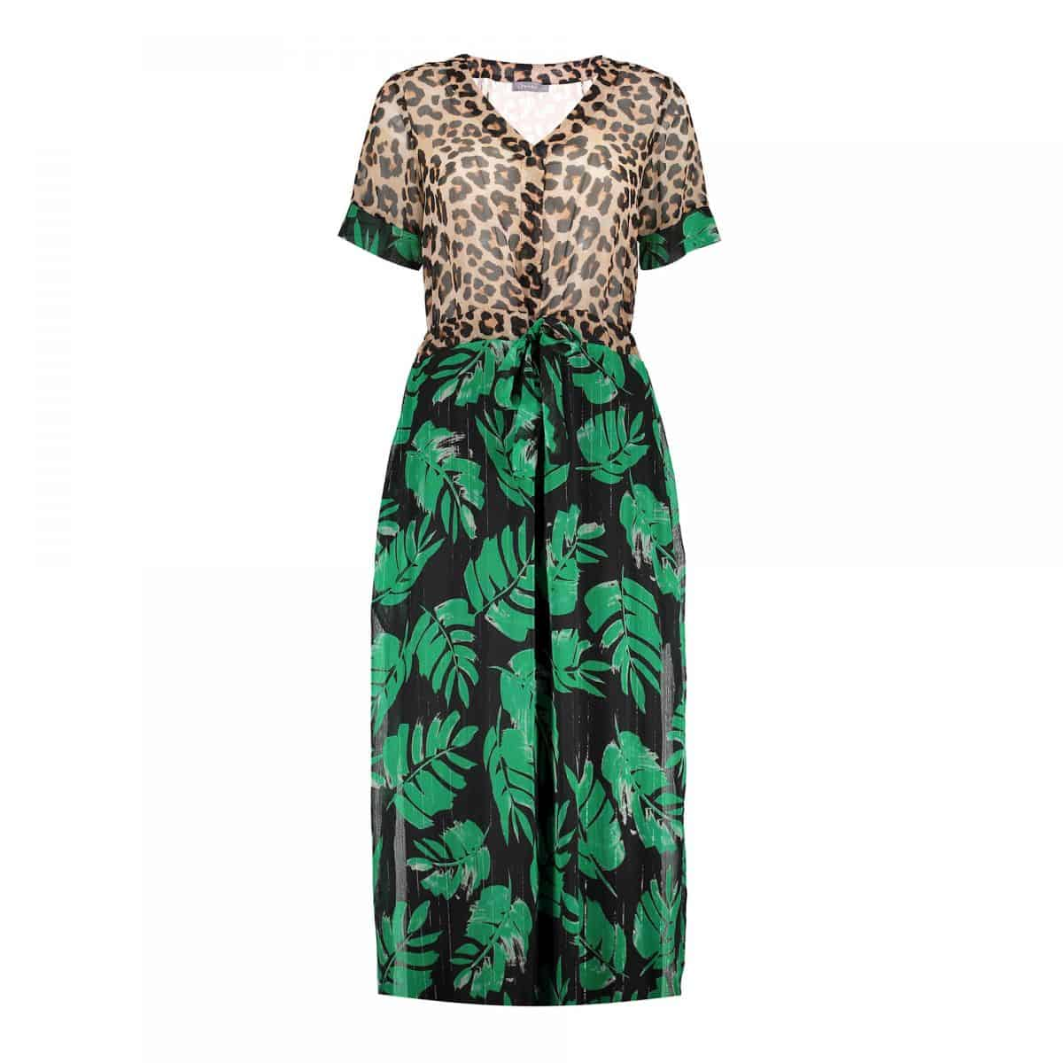 Geisha Dress Combi Leopard & Leaves