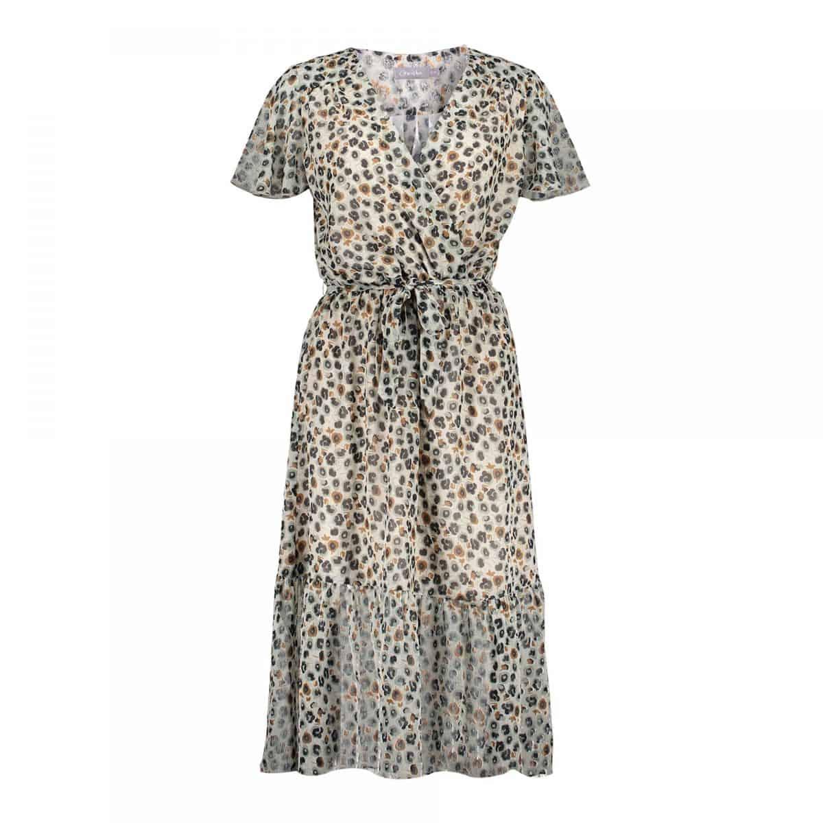 Geisha Dress Chiffon AOP Leopard