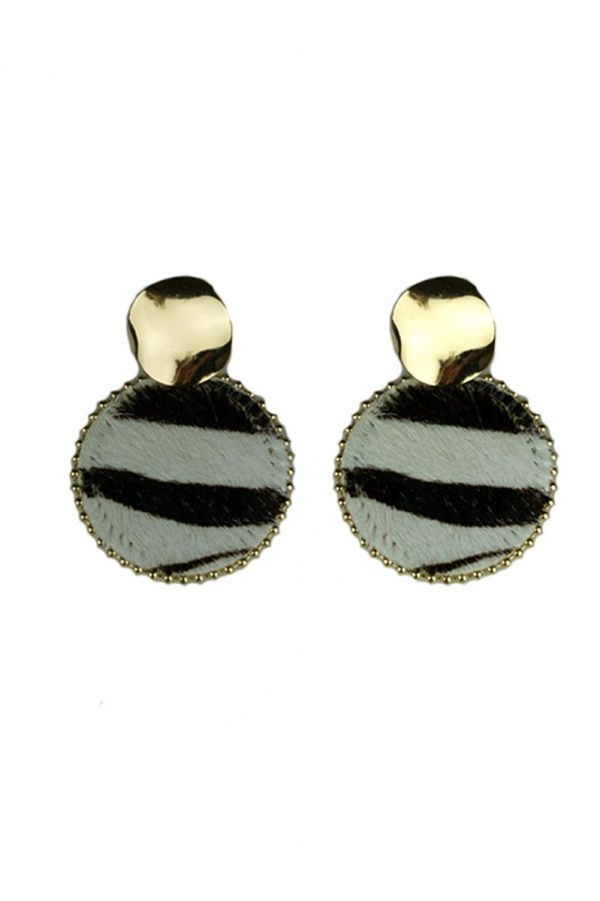 Zebraprint Oorbellen Rond