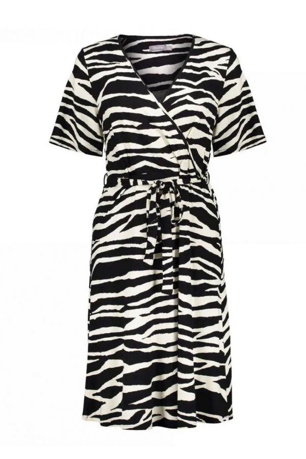 Geisha Dress Zebra & Strap At Waist