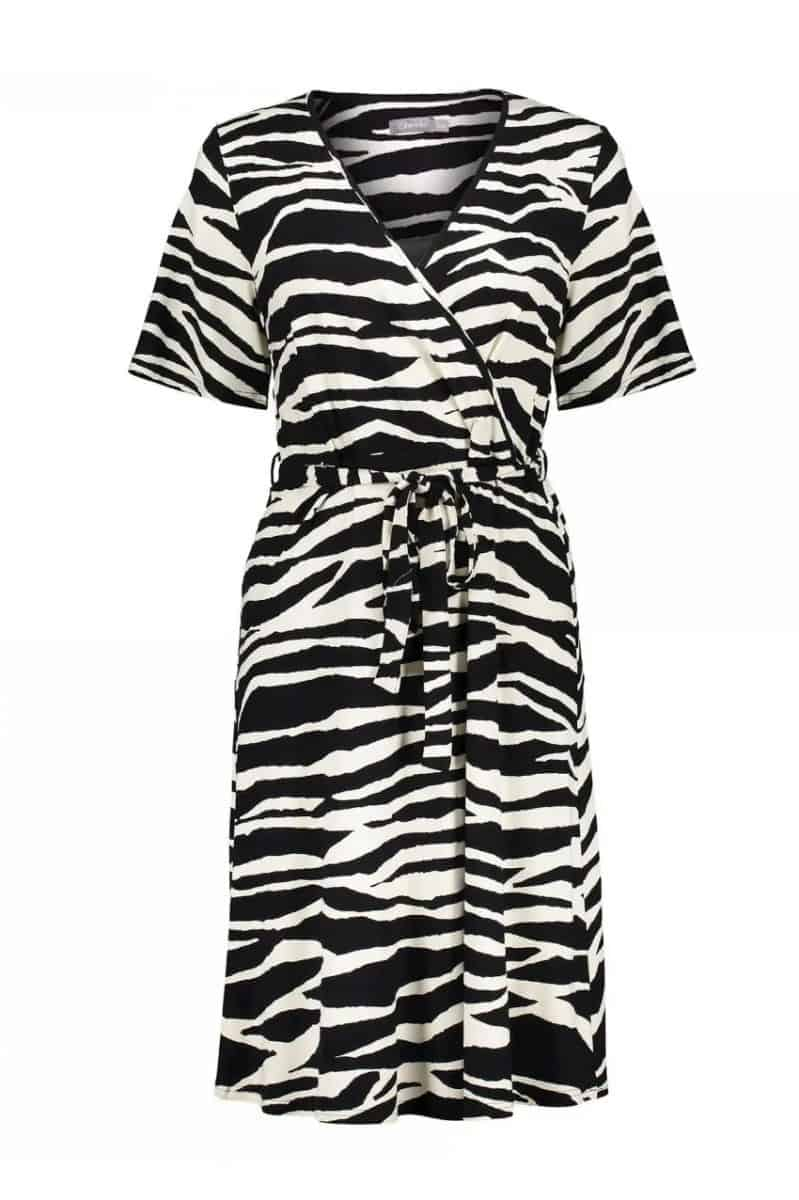 Geisha Dress Zebra & Strap At Waist