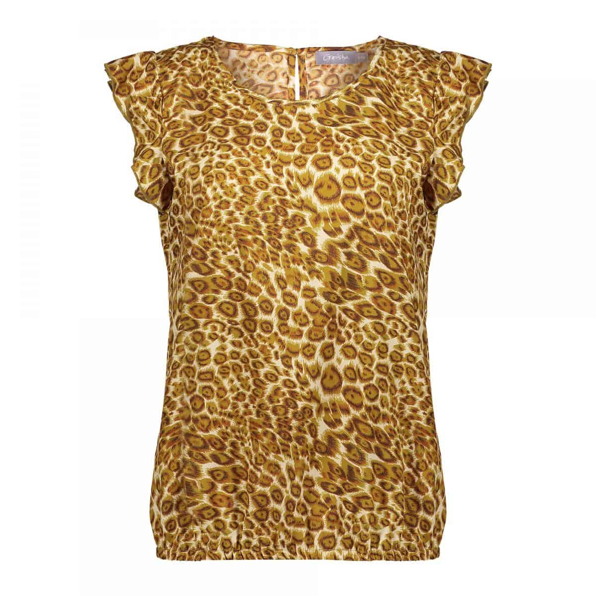 Geisha Top AOP Leopard Ruffle Sleeveless