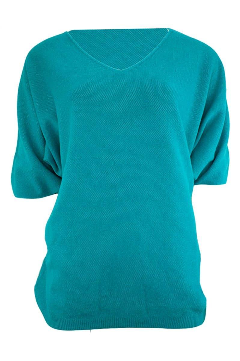 Triple Nine V-hals Truitje Turquoise