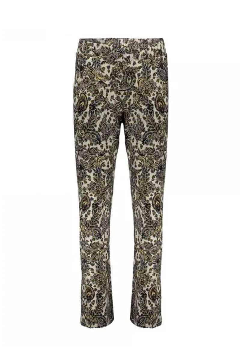 Geisha Pants Britt AOP Brown/Yellow