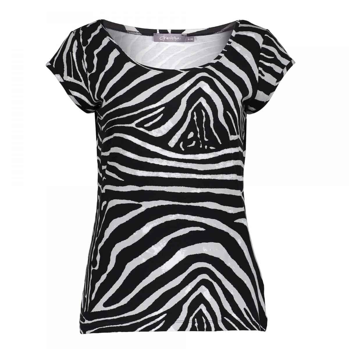 Geisha T-Shirt Short Sleeve Kate Black/Grey Zebra