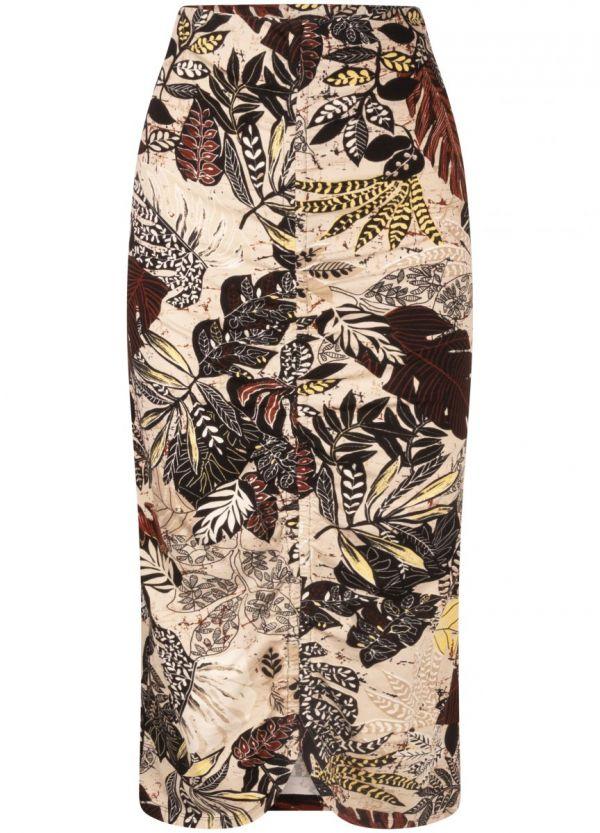 Tramontana Skirt Gathering Etnic Leaves Print