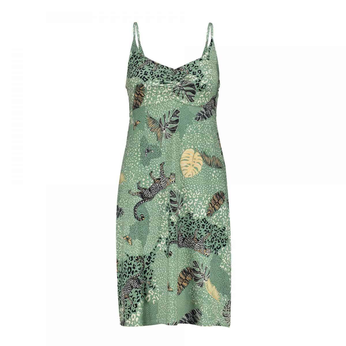 Geisha Dress Spaghetti Green Leopard