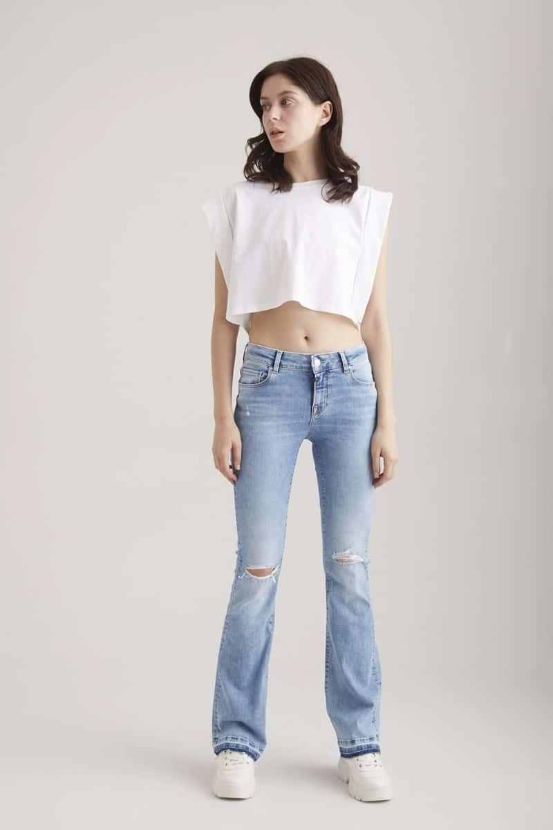 COJ Light Blue Destroyed Flared Jeans Laura