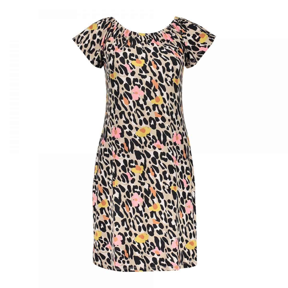 Geisha Dress Elastic Neck S/S Leopard Beige