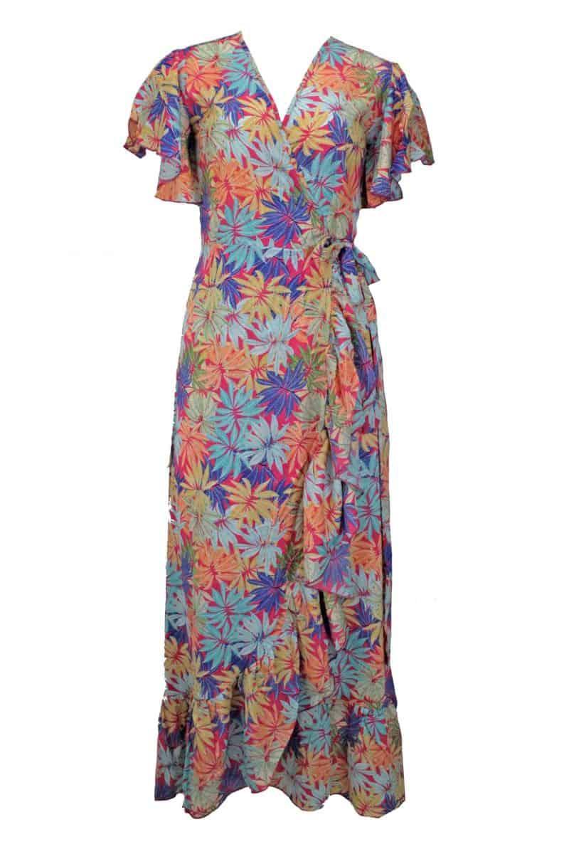 Maxi Dress Flora Pink Leaves