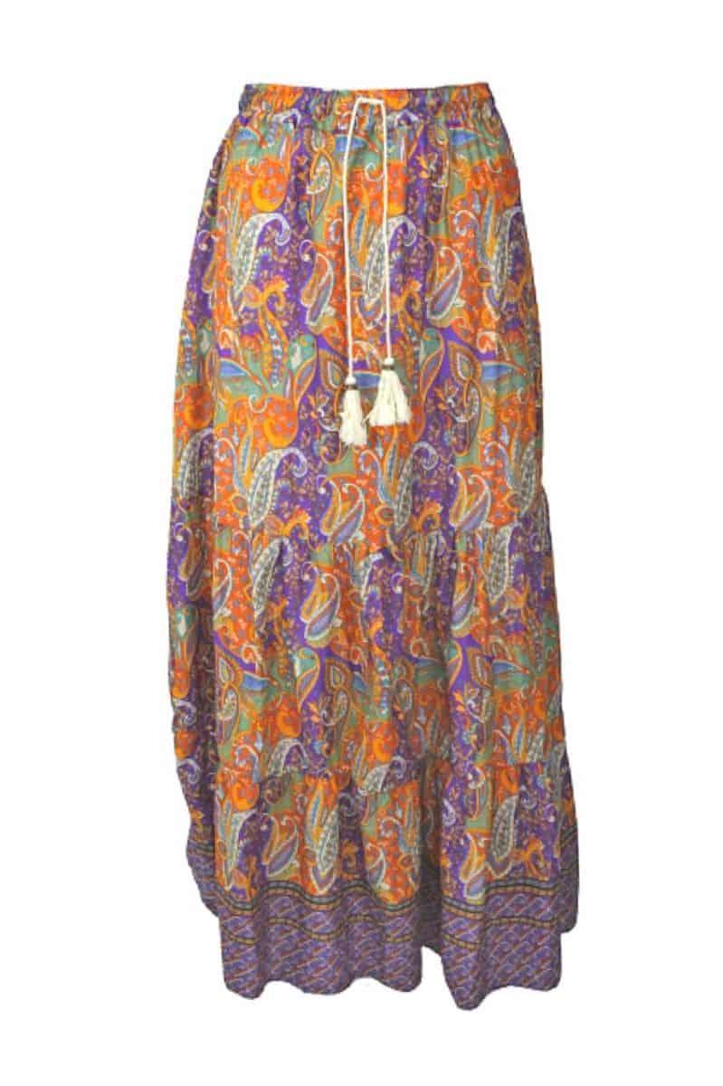 Maxi Skirt Paisley Print Paars