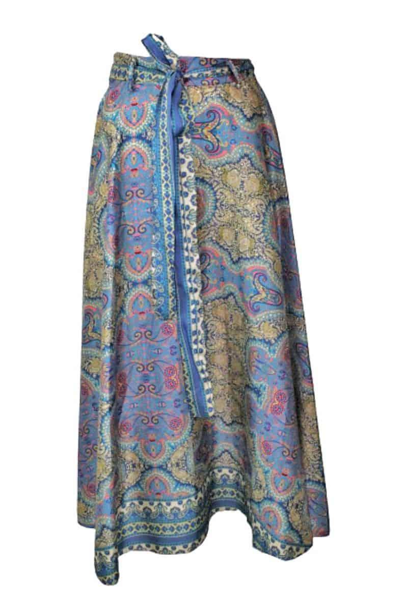 Maxi Skirt Paisley Print Blauw
