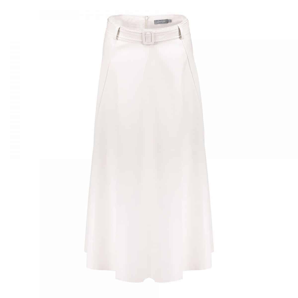 Geisha Skirt PU With Strap At Waist Beige