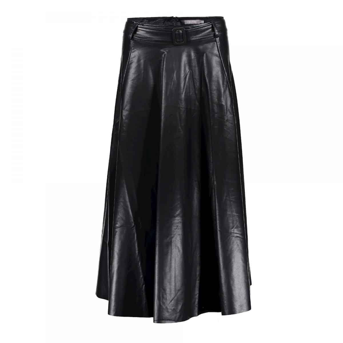 Geisha Skirt PU With Strap At Waist Black
