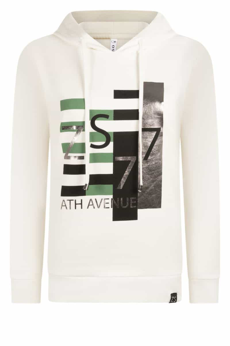 Zoso 215 Kim Hooded Sweater With Print Green