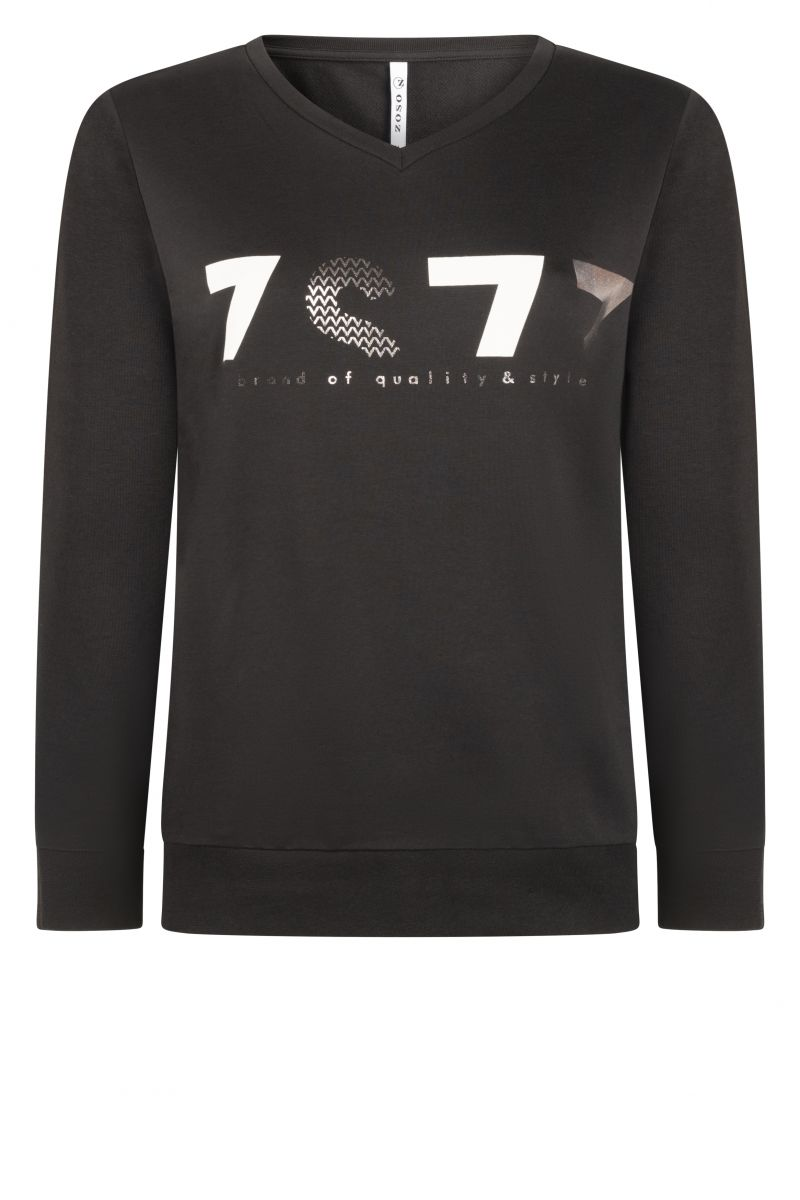 Zoso 215 Linda Sweater With Print Black