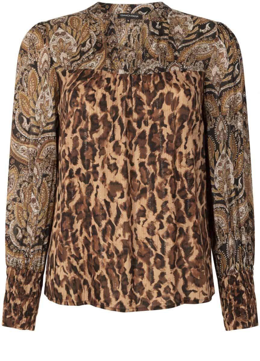 Tramontana Top L/S Faded Leopard Print Mix