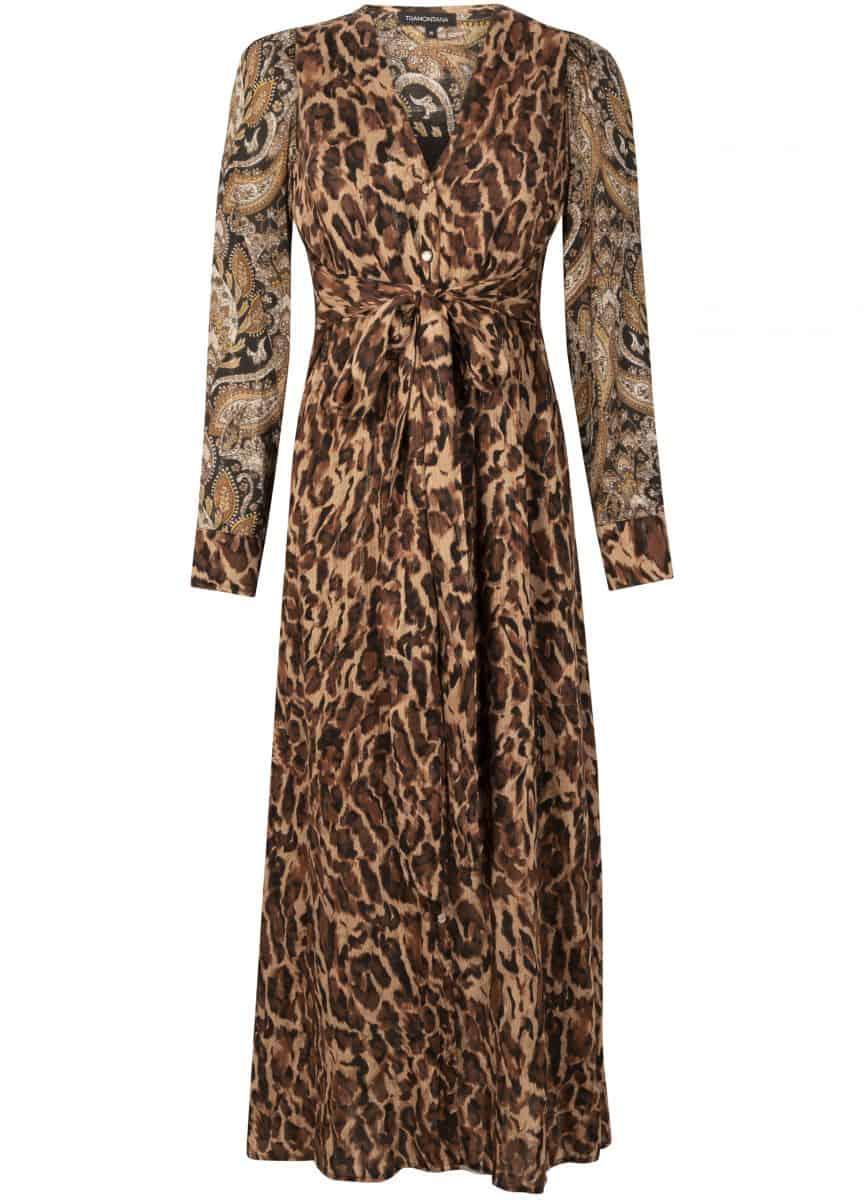 Tramontana Dress Maxi Faded Leopard Print Mix