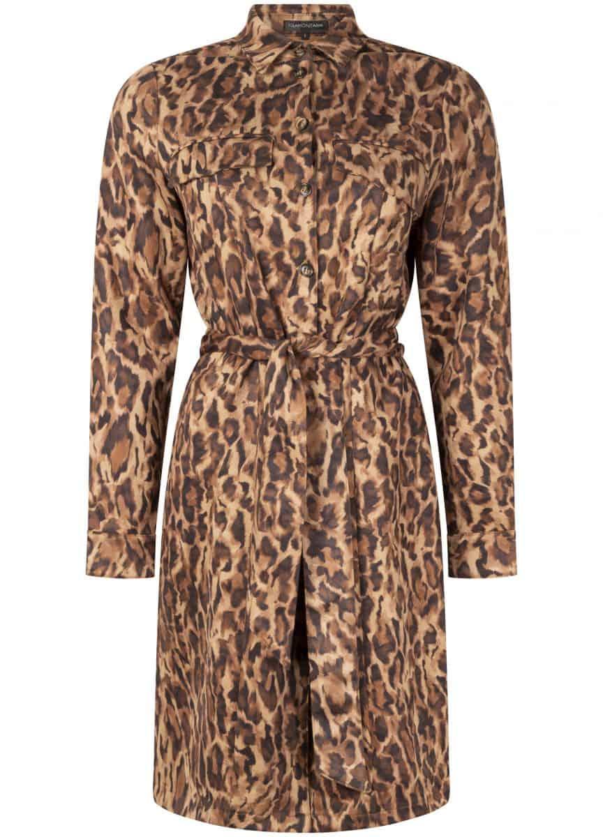 Tramontana Dress Suedine Faded Leopard