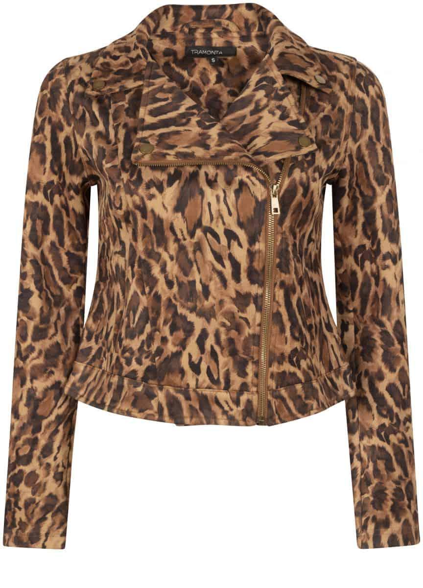 Tramontana Biker Jacket Suedine Faded Leopard