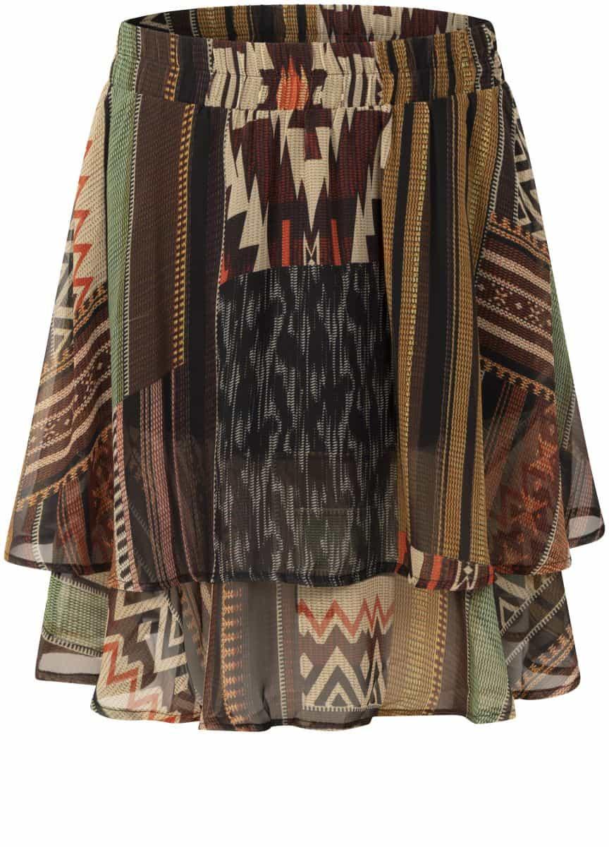 Tramontana Skirt Mini Chiffon Kilim Heritage Print