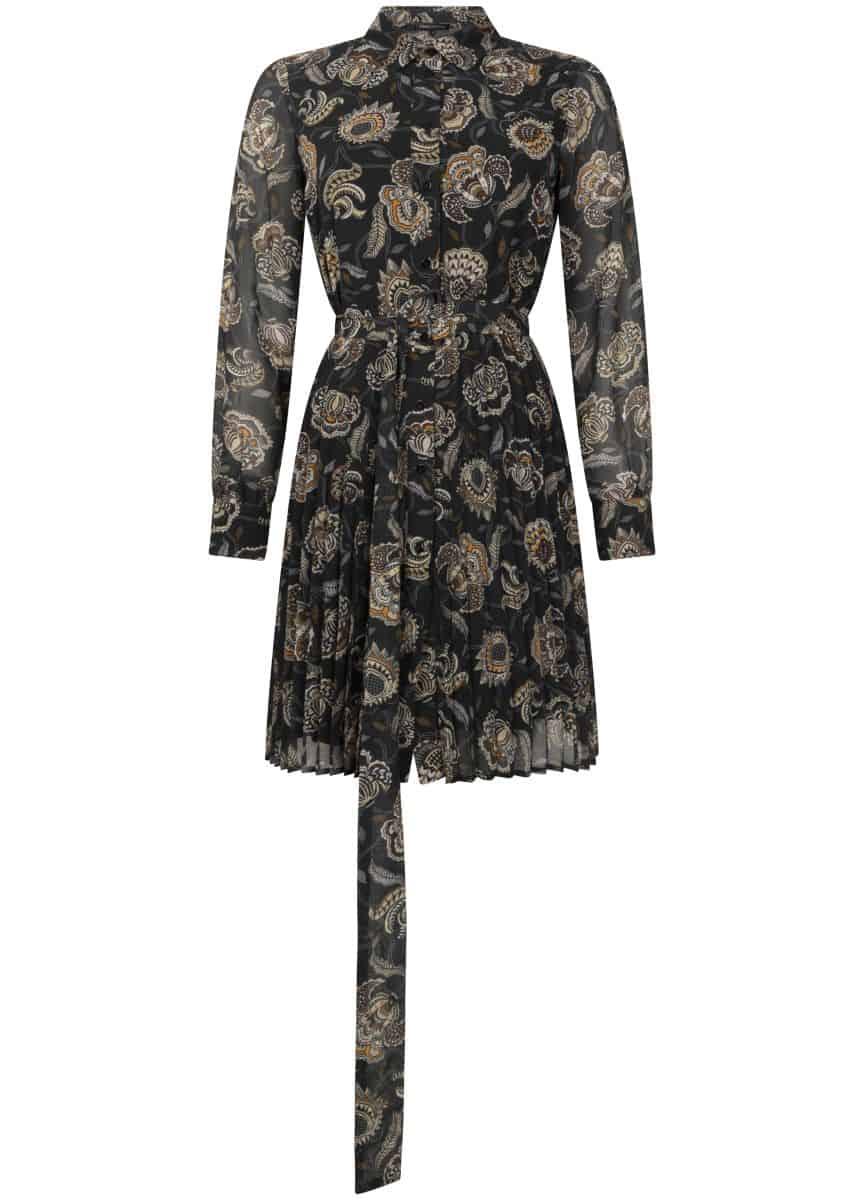 Tramontana Dress Plisse Winter Flower Print Black