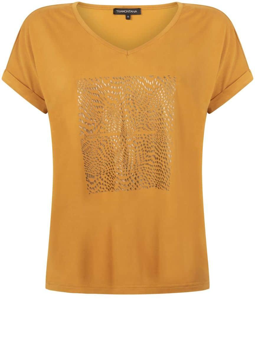 Tramontana T-Shirt Modal Foil Print Curry