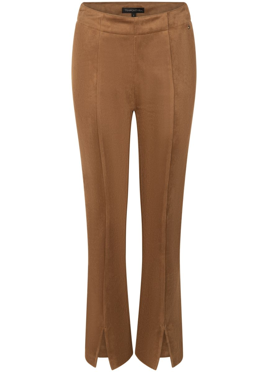 Tramontana Trousers Suedine Flared Hazelnut
